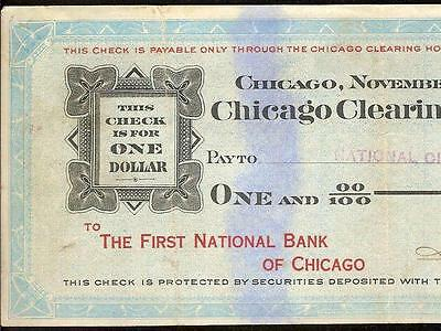 1907 $1 Dollar Chicago Clearing House Certificate Panic Currency Paper Money Vf