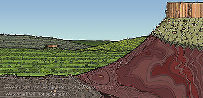 Art print The Bull Landscape open edition signed A3 size