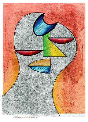 Art print Figure F38 abstract portrait open edition signed A3 size