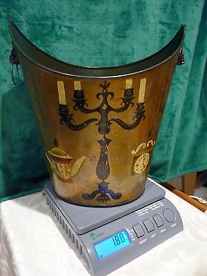 Toleware  Metal Black Waste Basket Trashcan  HAND PAINTED AND SIGNED