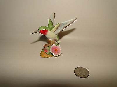 "Hummingbird FIgurine with Pink Flower, Porcelain, 3"" Tall"