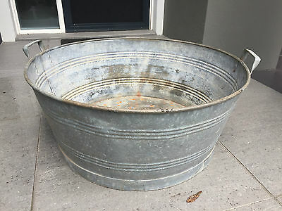 Antique laundry tub - galvanised iron, 64cm wide, pick up Castle Hill, NSW