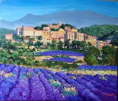 "Abbott Original Oil Painting 18""x24"" San Gimignano Italy Lavender Fields"