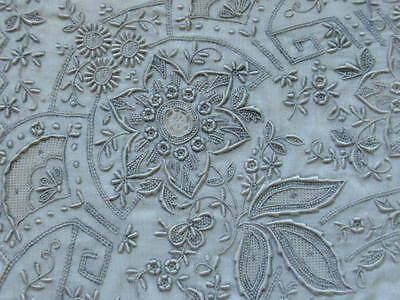 Vintage Swiss Appenzell Embroidered Needle Lace Bridal Wedding Handkerchief