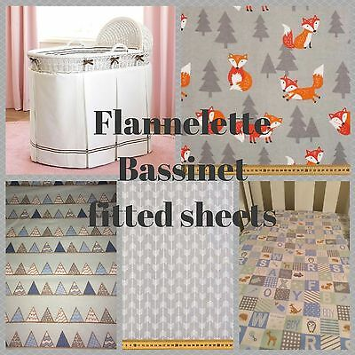 Bassinet, Moses, Boori flannelette fitted sheet in grey arrows, foxes, clouds