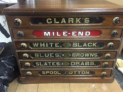 Antique Walnut Clark's Mile-End Spool Cabinet