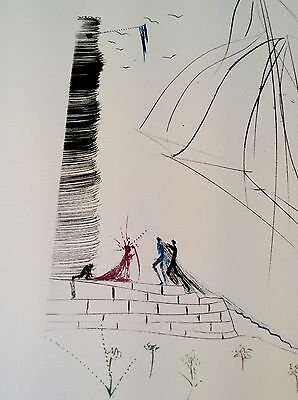 original Salvador Dali signiert Lithographie Tristan u. Isolde Ankunft Cornwall