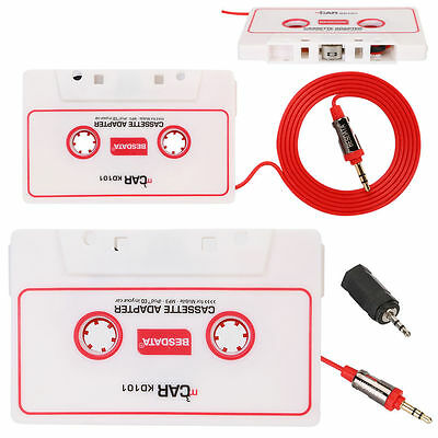 White Car Cassette MP3 iPhone iPad Music Converter Tape + 3.5mm Plug Adapter AU