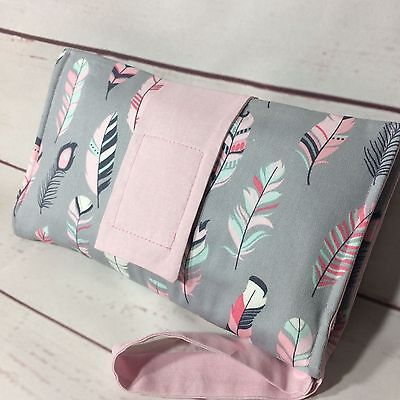 Nappy wallet/diaper clutch, padded with cotton in grey, pink, mint, feathers