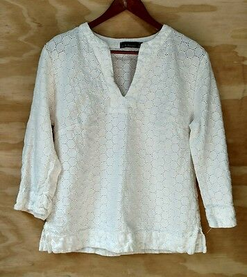 Cut Loose Women's White Eyelet 3/4 Sleeves Casual Blouse Top Size Small S