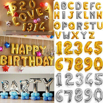 "Gold 16""/40"" Number Letter Foil Balloons for Birthday Wedding Party Anniver New"