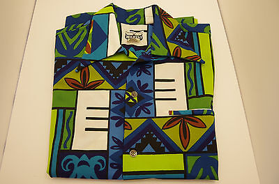Vtg Napili 1970s Aloha Hawaiian Shirt Tribal Geometric Loud Polyester sz L
