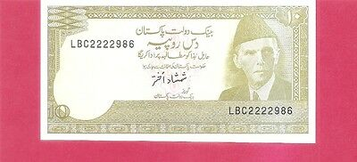 PAKISTAN  p39 - 10 rupee 1983 serial #222298x Uncirculated