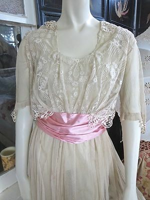1910s Edwardian Tambour & Needle Lace Dress Pink Silk Cummerbund Sash 34 Bust