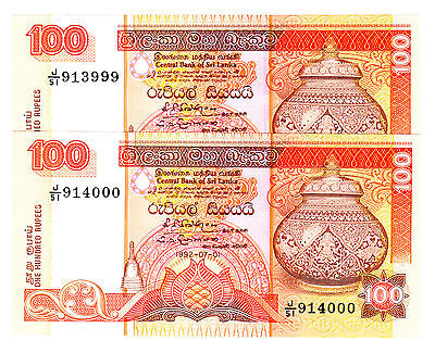 Sri Lanka 100 Rupees 1992 P. 105c Consecutive Notes  913999 & 914000 AU/UNC