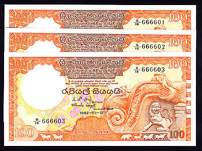 Ceylon 100 Rupees 1982 P. 95 3 Consecutive Notes 666601,02,&03 UNC