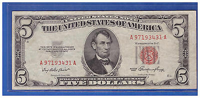 Old Vintage 1953 Series $5 Dollar Bill Red Seal United States Currency LOT T461