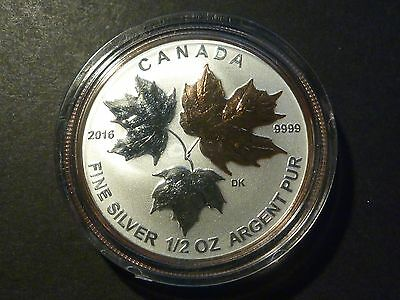 Canada 2016 $4 Silver Maple Leaf 1/2 oz single, from Fractional gold-plated set