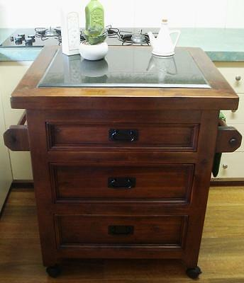 Timber & Granite Kitchen Island Trolley / Butchers Chopping Block