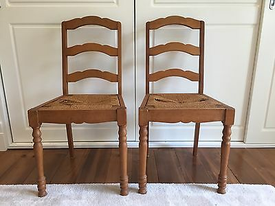 Pair of Antique Wooden French Ladderback Chairs With Seagrass Matting Base