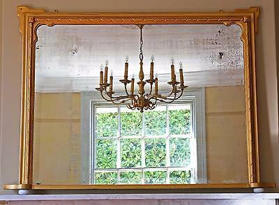 Antique C1850 Victorian gilt framed wall mirror overmantle