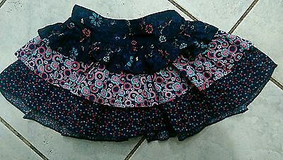 Girls sz 0-3mths Pumpkin Patch Navy Floral Tiered Skirt