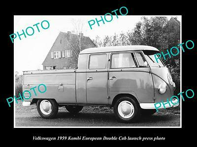 Old Large Historic Photo Of 1959 Volkswagen Kombi Double Cab Launch Press Photo