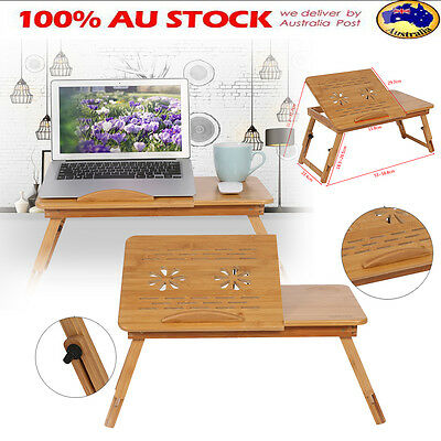 Adjustable Bamboo Laptop Desk Table Foldable Cooling Hole Holder Tray Sofa Bed