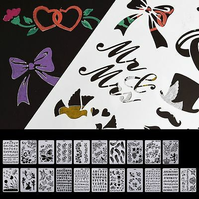DIY Flowers Stencil Airbrush Painting Art Home Decor Scrapbooking Crafts Toys