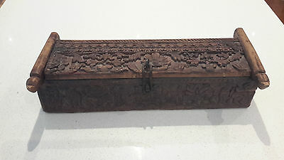 VINTAGE ANTIQUE BALINESE STYLE  hand carved storage box table top unit cabinet
