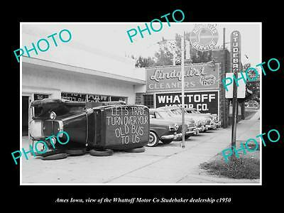 OLD LARGE HISTORIC PHOTO OF AMES IOWA, THE WHATTOFF STUDEBAKER MOTOR Co c1950