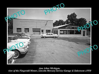 OLD LARGE HISTORIC PHOTO OF ANN ARBOR MICHIGAN, THE LINCOLN CAR DEALERSHIP c1950