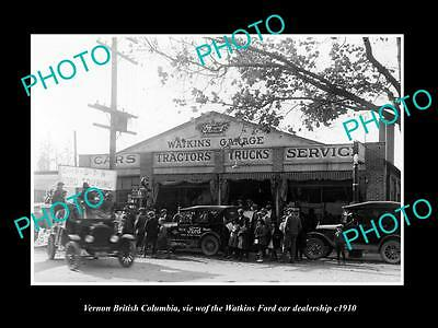 OLD HISTORIC PHOTO OF VERNON BC CANADA, THE WATKINS FORD MOTOR GARAGE c1910