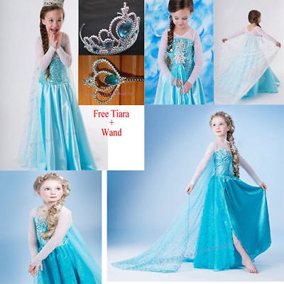 Girl Frozen Dress Costume Disney Princess Queen Elsa Party Birthday size 3-12Yrs