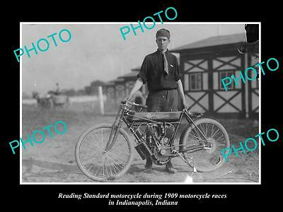 Old Historic Photo Of Man With Reading Standard Motorcycle, 1909 Indianapolis