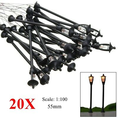 20Pcs Single Head Garden Park Street Light Model Lamppost Lamp 1:100 Scale Scene