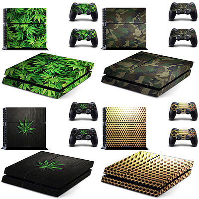 PS4 Skin & Controllers Skin Sticker 2 Controller Protector Green Weed 420 Ganja
