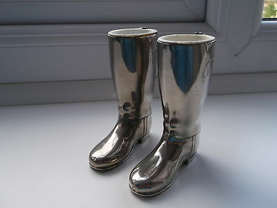 Vintage Silver Plated Riding Boot Drinks Measures Matched Pair