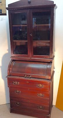 Antique Cylinder Roll top Secretary Desk W/ Bookcase Top