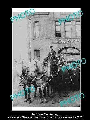 OLD LARGE HISTORIC PHOTO OF HOBOKEN NEW JERSEY, THE No 2 FIRE DEPARTMENT c1910