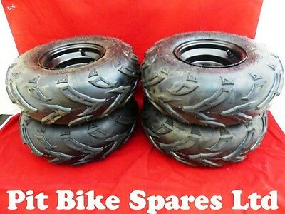 "Four Quad Bike Wheels & Tyres. 7"" Wheels With Aggressive Off Road Pattern."