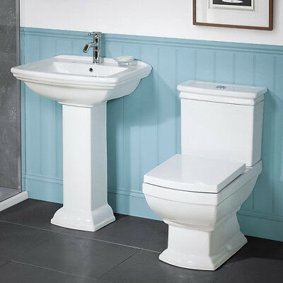 Traditional Toilet Basin & Bidet Set High Quality White Ceramic Bathroom Suite