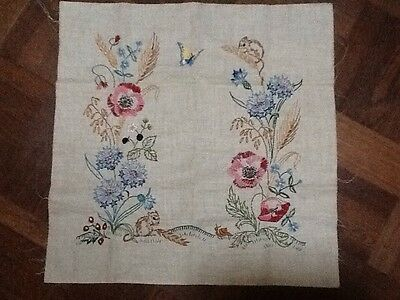 vintage hand embroidered linen Panel