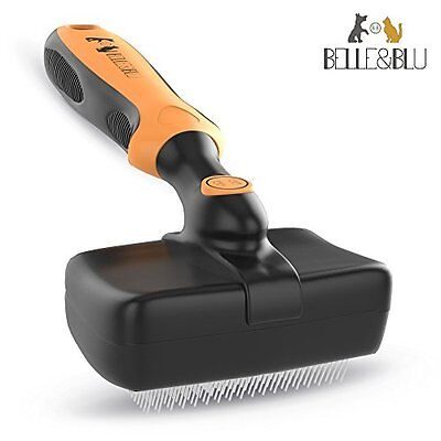 Slicker Brush by BELLE&BLU | Self-Cleaning Easy Clean Grooming Comb For Dogs, Ca