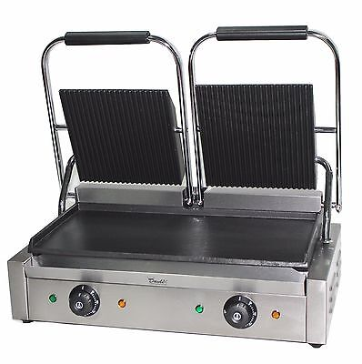 Double Panini Press Machine Electric Commercial Twin Contact Grill Pannini Maker