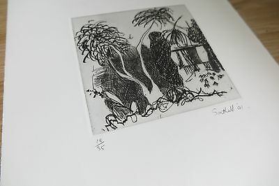 Abstract Surrealist Signed Limited Edition Etching 1991, of Brick and Bark