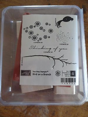 """Stampin' Up! """"Bird on a Branch"""" Wood Mount Stamp Set (Retired)"""