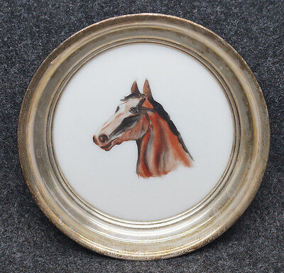 """Antique Sterling Silver Hand Painted Horse Dish 4 5/8"""" Diameter"""