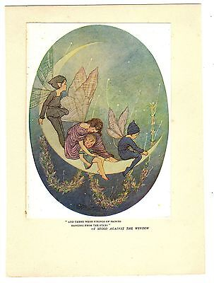HILDA MILLER 1923 Fairies HANGING FROM THE STARS Vintage CHILDREN'S Print