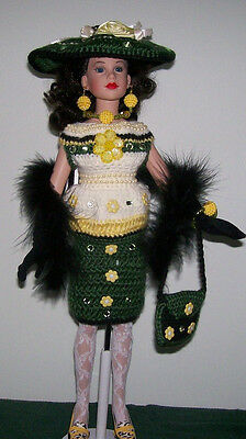 """Handmade Crochet 9 Pc. Clothing & Accessories For 18"""" Kitty Collier"""